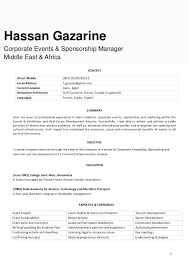Corporate Events and Sponsorship Manager Resume CONTACT Direct Mobile (002)  01282282221 Email Address h ...