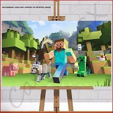 Minecraft Pictures To Print Minecraft Framed Box Canvas Print Picture Poster Steve Zombie Dog