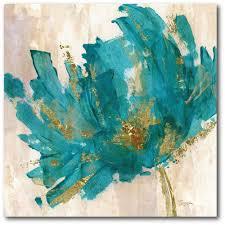 blue flower canvas wall art
