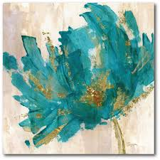 contemporary teal flower canvas wall art