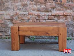 plank pine chunky beam coffee table
