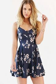 Kimchi Blue Scarlett Fit Flare Dress Urban Outfitters Blue