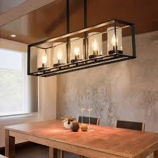 contemporary black metal frame 5 light kitchen island linear pendant light with clear glass shade description