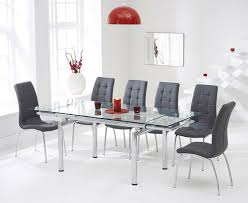 calgary 140cm extending gl dining table with cream calgary chairs