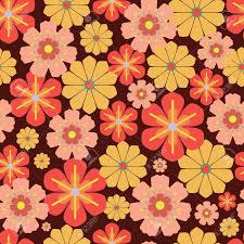 Vector 60s, 70s Retro Vintage Flowers ...
