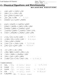 balancing equations practice answers part
