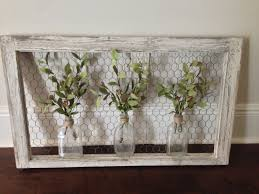 Old Window Frame Projects Wall Art Old Window Frame Chicken Wire Old Bottles And Greenery