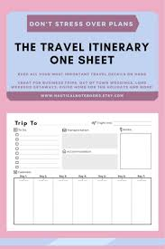 Business Trip Planner Travel Itinerary Template Family Travel Planner Printable
