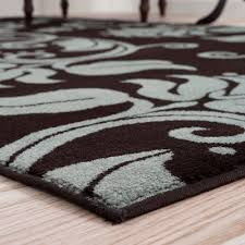 brown and blue area rugs amazing lavish home fl scroll rug reviews wayfair throughout 6