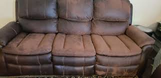 some faux leather furniture wears naturally without ling or flaking and exposes an absorbent polyester or microfiber fabric that can be stained and