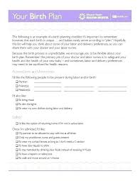 Simple Birth Plan Examples Sample Birth Plan Template C Section Printable Example