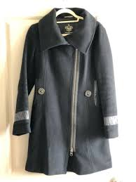 mackage black wool coat w leather trims p s small
