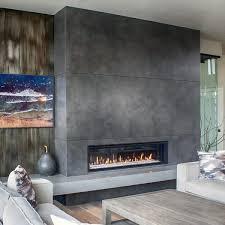 concrete gas fireplace living room design ideas