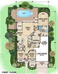 pool single story mediterranean house