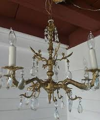 antique spanish 5 arm solid brass golden chandelier with lot s of crystals