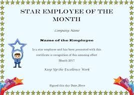 Star Of The Month Certificate Template Colorful Employee Of The Month Certificate Templates With Thoughtful