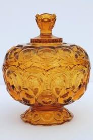 glass candy dish with lid amber glass candy dish vintage moon and stars pattern pressed glass