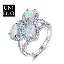 three pear white opal stone rings fashion promise ring gift ideas for wife jewelry