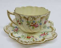 Decorative Cups And Saucers Antique CHAPMAN Sons Scalloped Edge Porcelain Cup Saucer 55