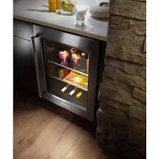 kitchenaid kitchenaid reg 24 undercounter refrigerator with glass door and metal trim shelves stainless