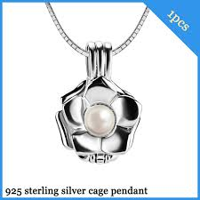 925 silver rose flower cage pendant with 6 7mm akoya pearl