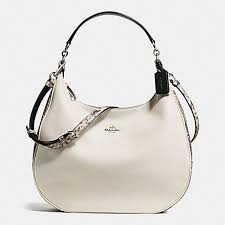 COACH f57503 HARLEY HOBO WITH SNAKE EMBOSSED LEATHER TRIM SILVER CHALK MULTI