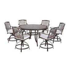 ridge falls 7 piece aluminum outdoor high dining set with cushions included choose your