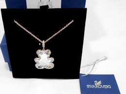 details about swarovski teddy pendant white rose gold plating crystal authentic mib 5345685