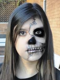 half face skull makeup