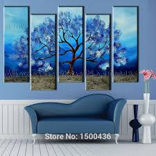 hand painted abstract blue canvas oil painting tree picture 5 piece wall art home modern decoration set in painting calligraphy from home garden on  on 6 piece wall art set with hand painted abstract blue canvas oil painting tree picture 5 piece