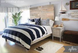 nautical themed bedding.  Bedding Rustic Nautical Master Bedroom Makeover A Dramatic Before U0026 After Via  Thinkingclosetcom In Themed Bedding I