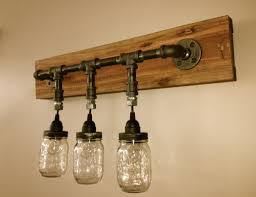 inspiring 3 hanging jars light vanity fixture design with wall mounted fixture holder for your bathroom furniture decor ideas