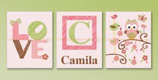 custom monogram pink lime green and brown nursery wall art set on pink and brown wall art with pink owl lime green brown nursery wall art precise bees