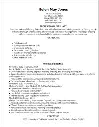 Retail Sales Associate Resume Impressive Clothing Sales Associate Professional Summary And Work Experience
