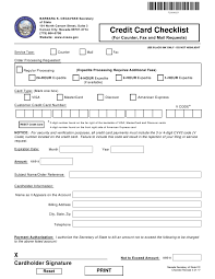 Fax Form Pdf Form 250402 Download Printable Pdf Credit Card Checklist