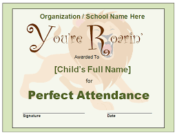 free perfect attendance certificate perfect attendance