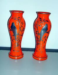 vintage silver overlay czechoslovakian glass vases otto s treasures ruby lane