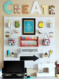 stylish pegboard storage in craft room