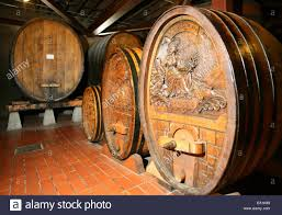 oak wine barrels. Napa County, Historic Oak Wine Barrels In Beringer Winery Of Valley, California CA USA