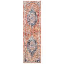 bristol blue orange 2 ft x 12 ft runner rug