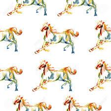 Paard Hand Getrokken Illustratie Geschilderde Kleurpotlood