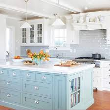 Impressive Blue Painted Kitchen Cabinets Baby Island S Throughout Modern Design
