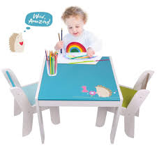 Wooden Activity Table Chair Set, Blue Hedgehog Toddler for 1-5 Years