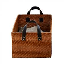 rattan basket with leather look handles the holding company