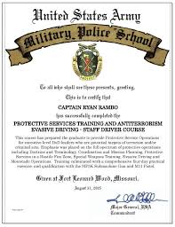 United States Army Military Police School Army Military Police School Certificate