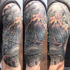 Mount Vesuvius Half Sleeve Tattooed By Bob Price Tattoo Artist