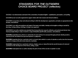 the outsiders by s e hinton ppt  standards for the outsiders choice board project reflective