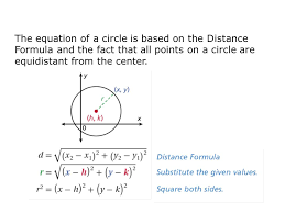 2 the equation of a circle is based on the distance formula and the fact that all points on a circle are equidistant from the center