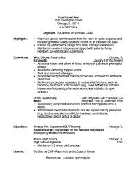 paramedic job description for resume. resume sample responsibilities ...