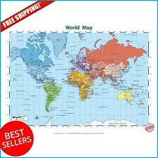 World Map Posters Large World Map Poster Paper Kids Educational Posters School